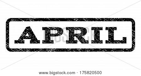 April watermark stamp. Text caption inside rounded rectangle frame with grunge design style. Rubber seal stamp with scratched texture. Vector black ink imprint on a white background.