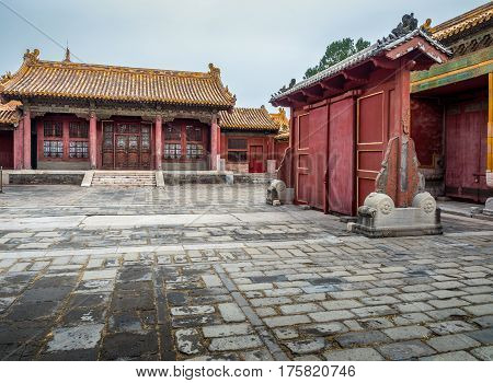 Beijing, China - Oct 30, 2016: Old palace residential outhouse near the Gate of Heavenly Purity, or Celestial Purity (Qianqingmen). Forbidden City (Gu Gong, Palace Museum).