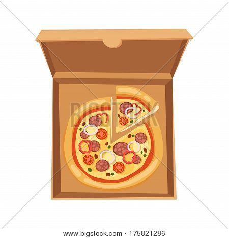 Pizza box delivery service. Craft pizza box isolated on white background. Box for pizza. Pizza delivery business, food box, package