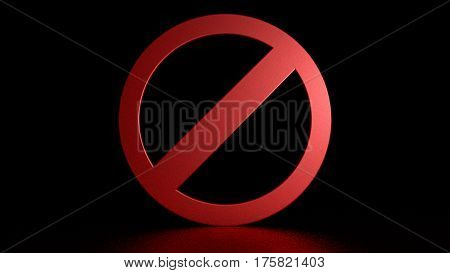Prohibition sign on black background. Graphic illustration. 3d rendering.