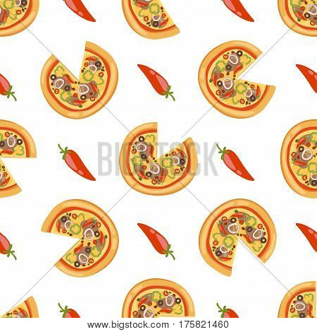 Pizza seamless pattern icons isolated on white background. Pizza food silhouette. Piece, slice of pizza. Pizza menu illustration vector collection