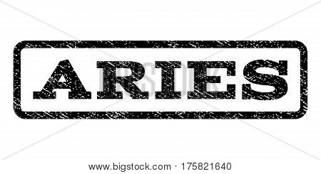 Aries watermark stamp. Text tag inside rounded rectangle frame with grunge design style. Rubber seal stamp with dirty texture. Vector black ink imprint on a white background.