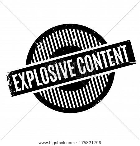 Explosive Content rubber stamp. Grunge design with dust scratches. Effects can be easily removed for a clean, crisp look. Color is easily changed.