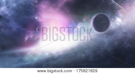 Celestial Art Stars and Galaxies in Outer Space Showing the Beauty of Space exploration. Planet Texture furnished by NASA 3d Render 3d Illustration