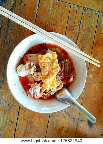 Thai fusion food, Yen Ta Fo Tom Yam. Hot and spicy Thai noodle.