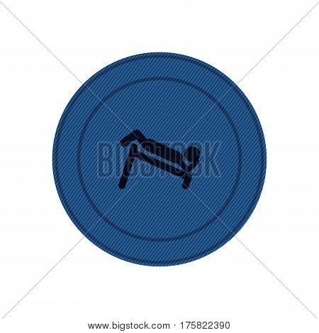 blue circular frame with abdominal training on inclined bar vector illustration