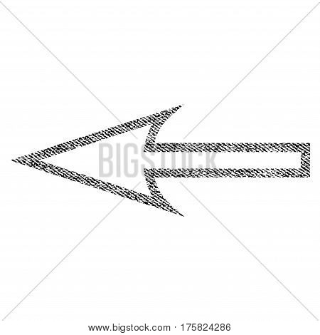 Sharp Arrow Left vector textured icon for overlay watermark stamps. Black jeans fabric vectorized texture. Symbol with dust design. Black ink rubber seal stamp with fiber textile structure.