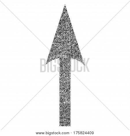 Sharp Arrow Up vector textured icon for overlay watermark stamps. Black jeans fabric vectorized texture. Symbol with dust design. Black ink rubber seal stamp with fiber textile structure.