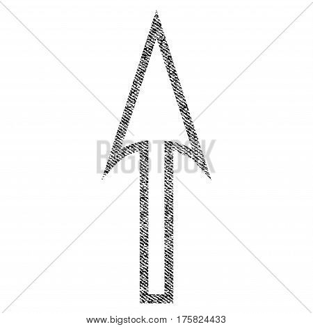 Sharp Arrow Up vector textured icon for overlay watermark stamps. Black jeans fabric vectorized texture. Symbol with scratched design. Black ink rubber seal stamp with fiber textile structure.