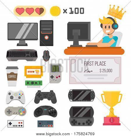 Flat design kiber sport gaming vector illustration concept tool and essential. Various devices player virtual computer gamer item element. Man with headphones.