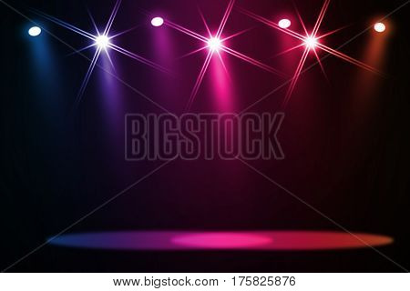 The concert on stage background with flood lights