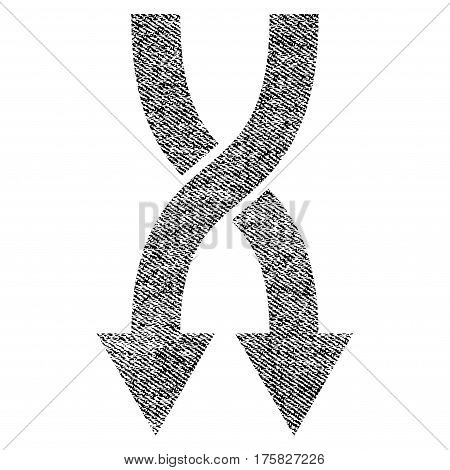Shuffle Arrows Down vector textured icon for overlay watermark stamps. Black jeans fabric vectorized texture. Symbol with dirty design. Black ink rubber seal stamp with fiber textile structure.