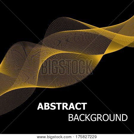 Abstract golden line wave background, stock vector