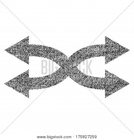 Shuffle Arrows Horizontal vector textured icon for overlay watermark stamps. Black jeans fabric vectorized texture. Symbol with scratched design.