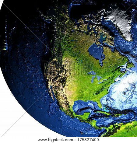 North America On Earth With Exaggerated Mountains