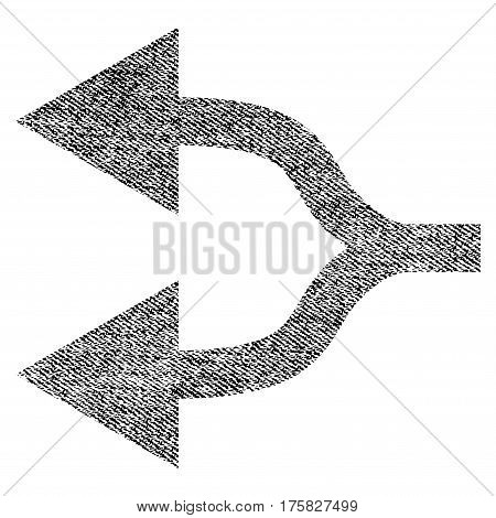 Split Arrows Left vector textured icon for overlay watermark stamps. Black jeans fabric vectorized texture. Symbol with scratched design. Black ink rubber seal stamp with fiber textile structure.