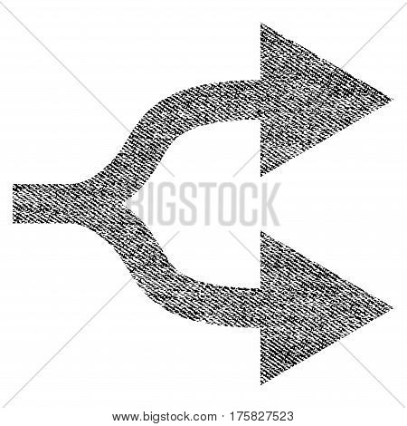 Split Arrows Right vector textured icon for overlay watermark stamps. Black jeans fabric vectorized texture. Symbol with dirty design. Black ink rubber seal stamp with fiber textile structure.