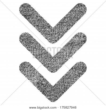 Triple Arrowhead Down vector textured icon for overlay watermark stamps. Black jeans fabric vectorized texture. Symbol with scratched design. Black ink rubber seal stamp with fiber textile structure.