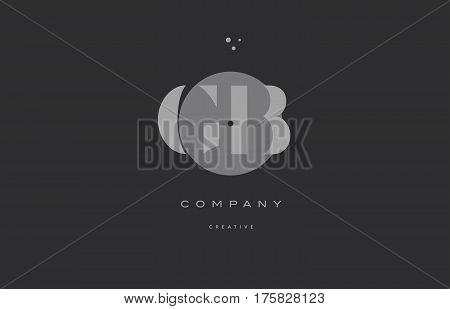 Gb G B  Grey Modern Alphabet Company Letter Logo Icon