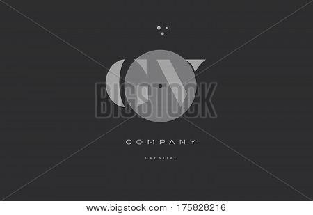 Gv G V  Grey Modern Alphabet Company Letter Logo Icon
