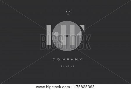 Hf H F  Grey Modern Alphabet Company Letter Logo Icon