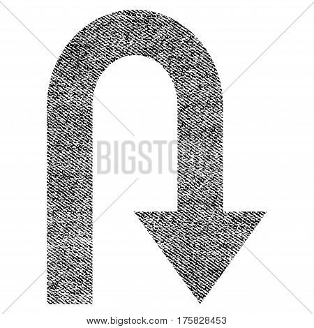 Turn Back vector textured icon for overlay watermark stamps. Black jeans fabric vectorized texture. Symbol with dust design. Black ink rubber seal stamp with fiber textile structure.