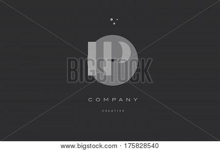 Ip I P  Grey Modern Alphabet Company Letter Logo Icon