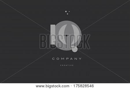 Iq I Q  Grey Modern Alphabet Company Letter Logo Icon