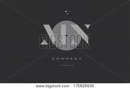 Mn M N  Grey Modern Alphabet Company Letter Logo Icon
