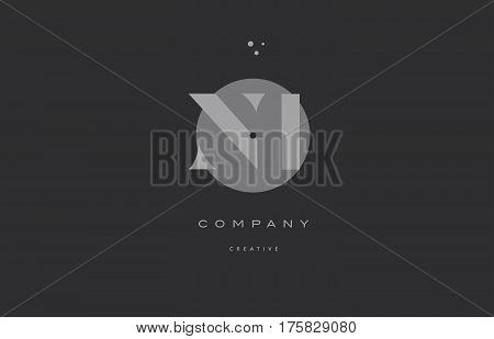 Ni N I  Grey Modern Alphabet Company Letter Logo Icon