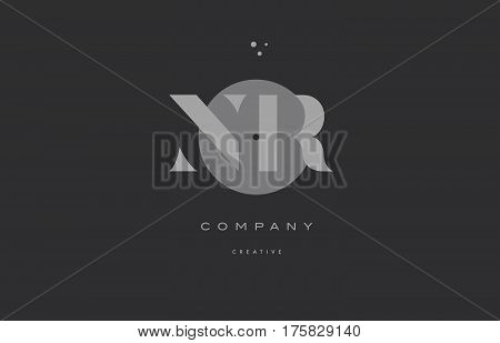 Nr N R  Grey Modern Alphabet Company Letter Logo Icon