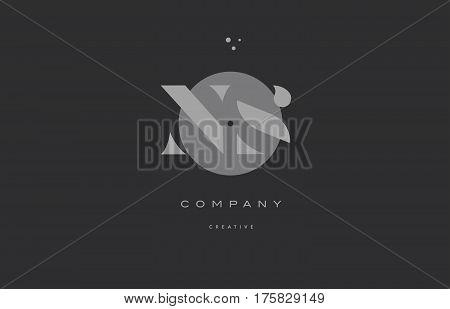Ns N S  Grey Modern Alphabet Company Letter Logo Icon