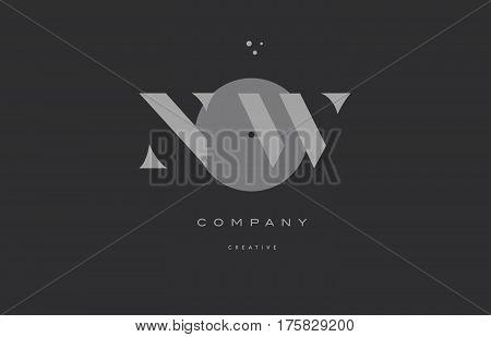 Nw N W  Grey Modern Alphabet Company Letter Logo Icon