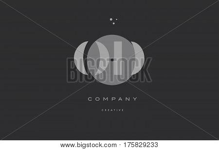 Od O D  Grey Modern Alphabet Company Letter Logo Icon