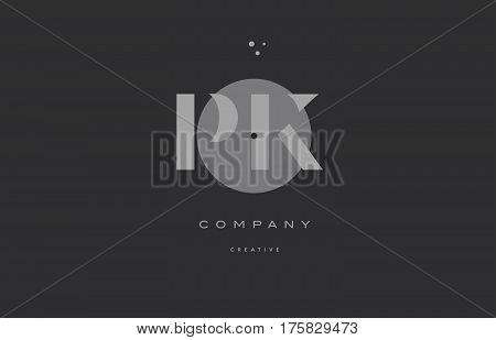 Pk P K  Grey Modern Alphabet Company Letter Logo Icon