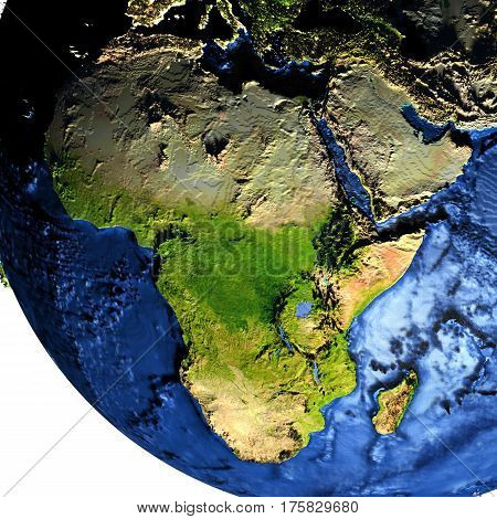Africa On Earth With Exaggerated Mountains