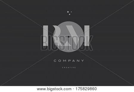 Rm R M  Grey Modern Alphabet Company Letter Logo Icon