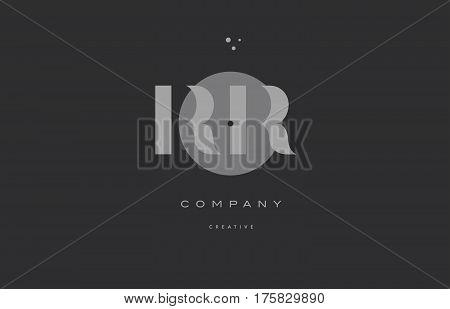 Rr R  Grey Modern Alphabet Company Letter Logo Icon