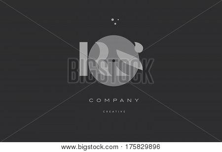 Rs R S  Grey Modern Alphabet Company Letter Logo Icon