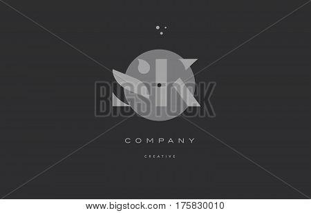 Sk S K  Grey Modern Alphabet Company Letter Logo Icon