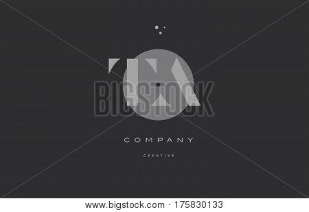 Ta T A  Grey Modern Alphabet Company Letter Logo Icon