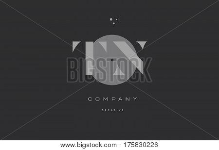 Tn T N  Grey Modern Alphabet Company Letter Logo Icon