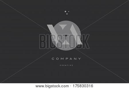 Va V A  Grey Modern Alphabet Company Letter Logo Icon