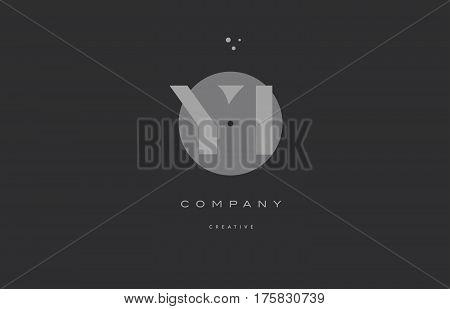 Yi Y I  Grey Modern Alphabet Company Letter Logo Icon