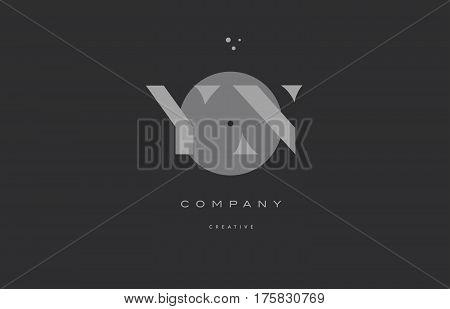Yn Y N  Grey Modern Alphabet Company Letter Logo Icon
