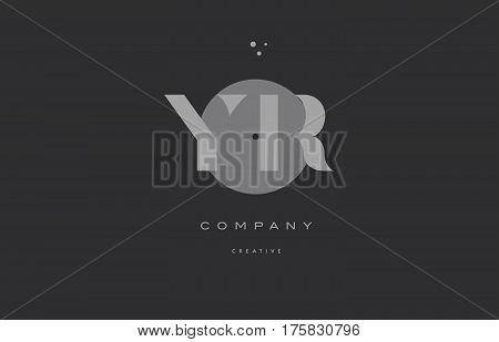 Yr Y R  Grey Modern Alphabet Company Letter Logo Icon