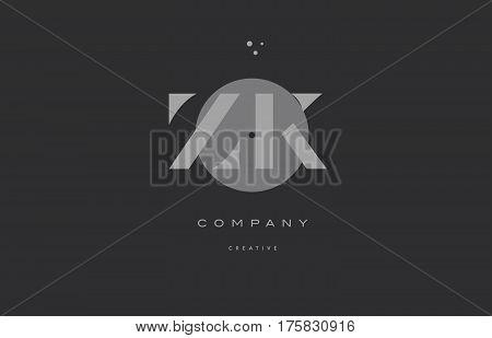 Zk Z K  Grey Modern Alphabet Company Letter Logo Icon