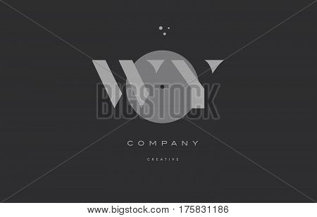Wy W Y  Grey Modern Alphabet Company Letter Logo Icon