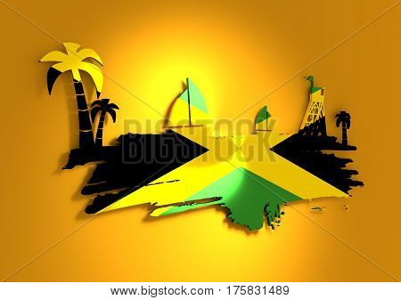 Vintage seaside view poster. Palm and safeguard tower on the beach. Yacht in the ocean. Silhouettes on grunge brush stroke. 3D rendering. Metallic glossy material. Jamaica flag