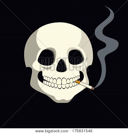 Vector cartoon illustration of a human skull with a burning cigarette between its teeth.